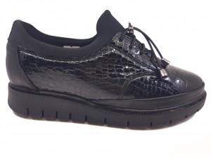 Pantofi damă stretch negri din lac cu șiret