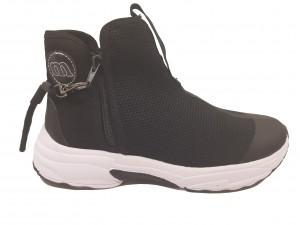 Sneakers damă negri din material flexibil