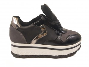 Pantofi sport damă cu platformă negri cu gri