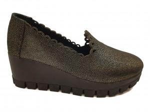 Pantofi damă casual auriu cu negru din piele naturală