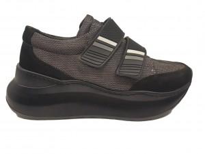 Pantofi sport damă negri cu talpă voluminoasă, din piele întoarsă