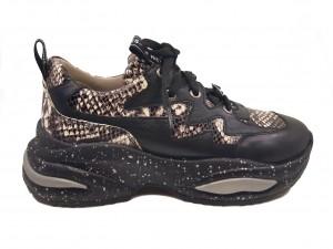 Pantofi sport damă negri cu imprimeu șarpe din piele naturală