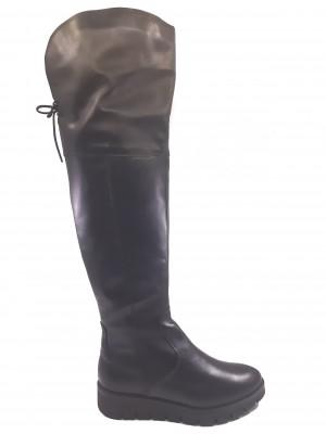 Cizme damă peste genunchi, negre, din piele naturală