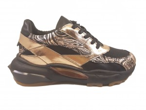 Pantofi sport negri cu roz metalizat, din piele naturală