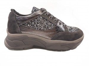 Pantofi sport glitter, gri, din piele naturală