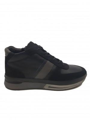 Pantofi sport îmblăniți bărbați, negri, din piele naturală