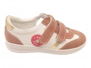 Pantofi sport fete alb cu vișiniu din piele naturală