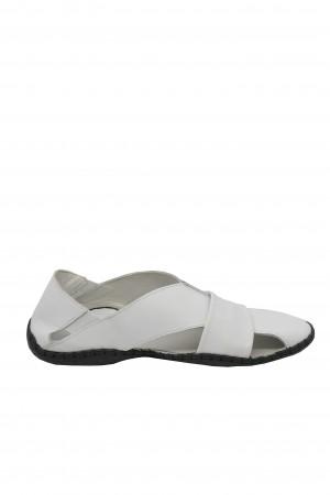Sandale bărbați albe cu design modern și talpa cusută