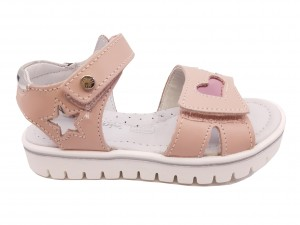 Sandale fete roz pal din piele naturală
