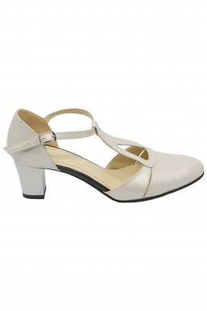 Pantofi decupați eleganți bej sidefat din piele naturală