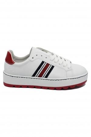 Pantofi sport damă albi, cu talpa înaltă