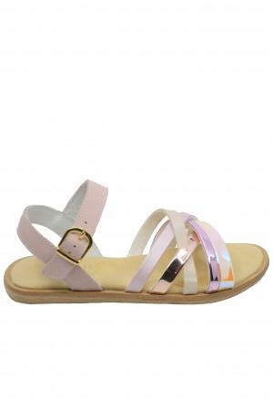 Sandale fete roz oglindă, din piele naturală