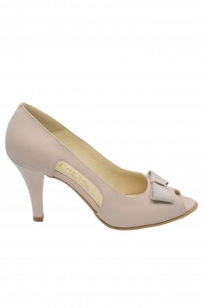 Pantofi damă decupați nude, din piele naturală