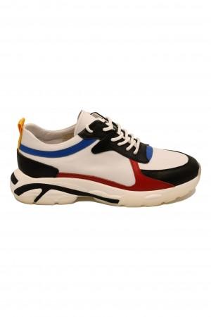 Pantofi sport albi bărbați din piele naturală