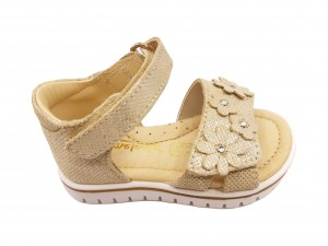 Sandale fete aurii din piele naturală întoarsă
