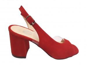 Sandale decupate roșu antilopă