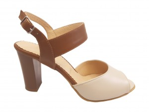 Sandale din piele naturală, culoare bej cu maro