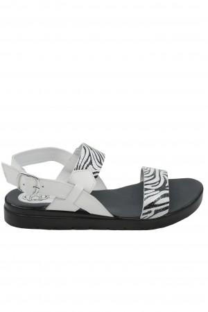 Sandale damă Aniss alb zebră, din piele naturală