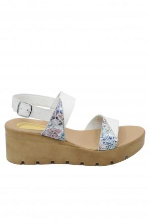 Sandale damă alb + flori cu platformă Bia