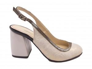 Pantofi decupați auriu și sidef din piele naturală