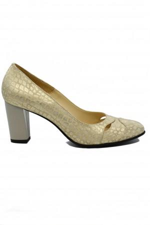 Pantofi damă aurii din piele întoarsă cu imprimeu șarpe