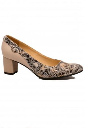 Pantofi damă bej din piele naturală cu imprimeu abstract