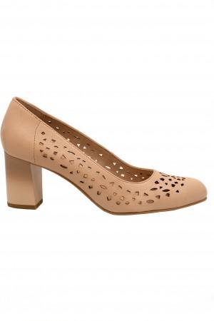 Pantofi damă rose perforați, din piele naturală
