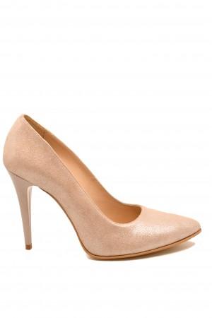 Pantofi stiletto aurii din piele naturală