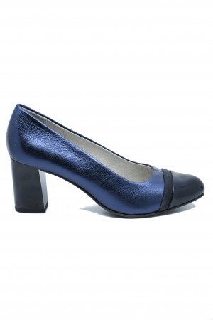 Pantofi damă office navy metallic, din piele naturală