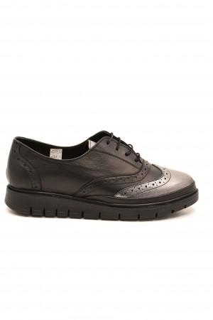 Pantofi damă Oxford negru-bronz din piele naturală