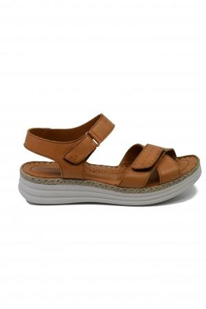 Sandale damă comode din piele naturală de culoare taba