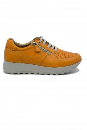 Pantofi sport damă muștar din piele naturală