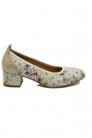 Pantofi damă bej cu imprimeu floral, din piele naturală