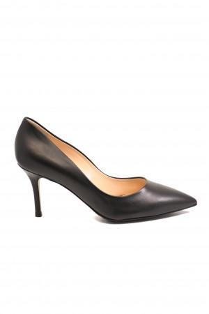 Pantofi eleganți stiletto negri din piele naturală
