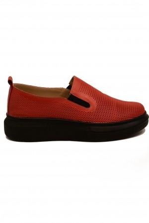 Pantofi damă casual roșii din piele naturală
