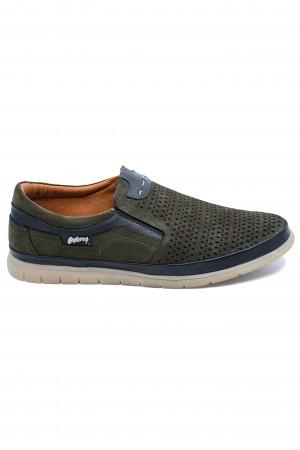 Pantofi casual kaki bărbați, din piele întoarsă