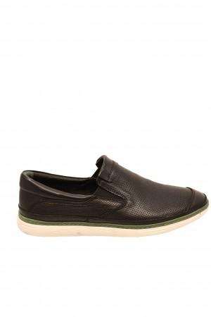 Pantofi casual negri bărbați, din piele naturală