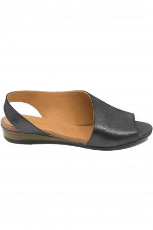 Sandale damă decupate negre din piele naturală