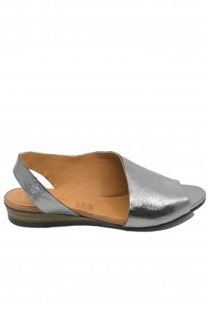 Sandale damă decupate argintii din piele naturală