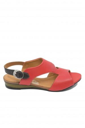 Sandale damă casual roșii din piele naturală