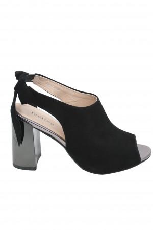 Sandale elegante negre din piele întoarsă