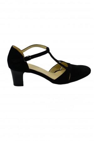 Pantofi decupați eleganți negri din piele întoarsă
