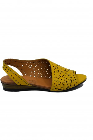 Sandale damă decupate galbene din piele naturală