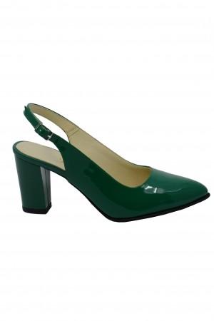 Pantofi damă decupați verzi din lac