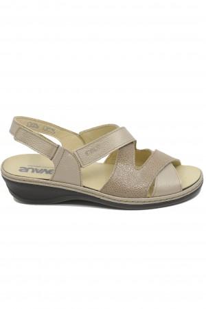 Sandale damă bej, cu toc mic, din piele naturală