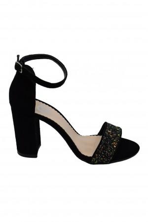 Sandale elegante negre cu aplicații glitter din piele întoarsă