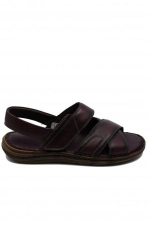 Sandale bărbați bordo comode din piele naturală