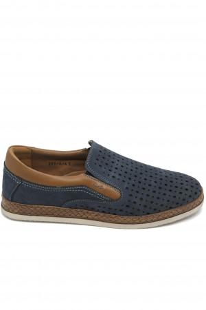 Pantofi slip-on bleumarin perforați dn piele întoarsă
