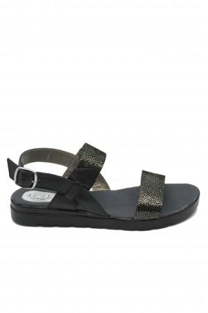 Sandale damă Aniss negru picățele, din piele naturală