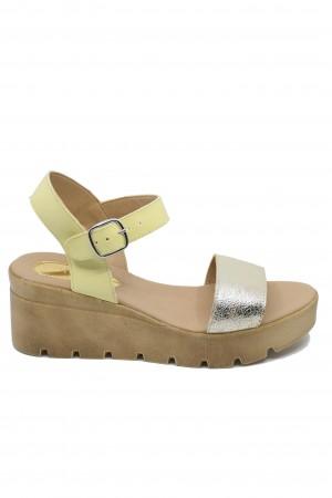 Sandale damă galben perlat cu platformă Mara